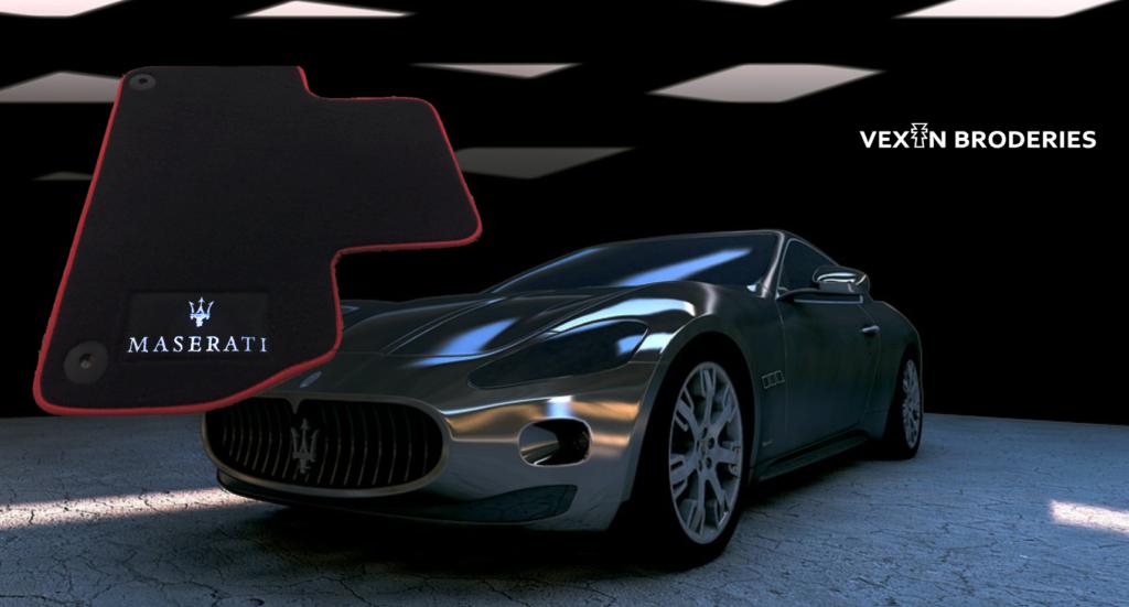 Vexin Broderies Logo Maserati brodé sur un tapis de sol